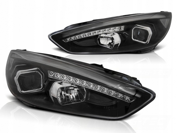 LAMPY REFLEKTORY FORD FOCUS MK3 15- BLACK DRL LED