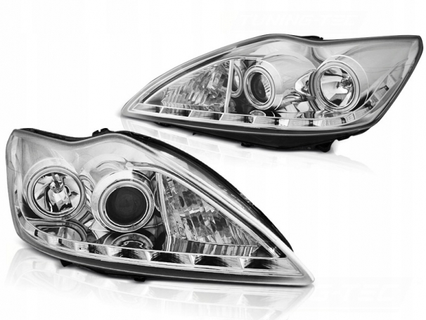 LAMPY FORD FOCUS II MK2 08-10 RINGI CCFL CHROME